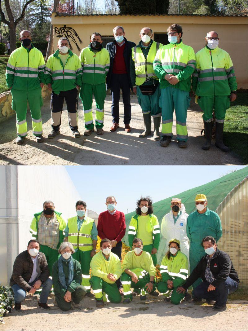 Despedida de Lucio Gómez Salazar de trabajadores de parques y jardines, y del vivero de Albacete